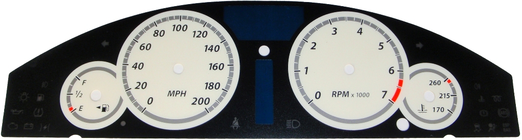 Chrysler 300c 2005-2009 Srt8 White / White Night Performance Dash Gauges