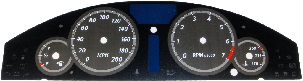 Chrysler 300c 2005-2009 Srt8 Black / Silver Night Performance Dash Gauges