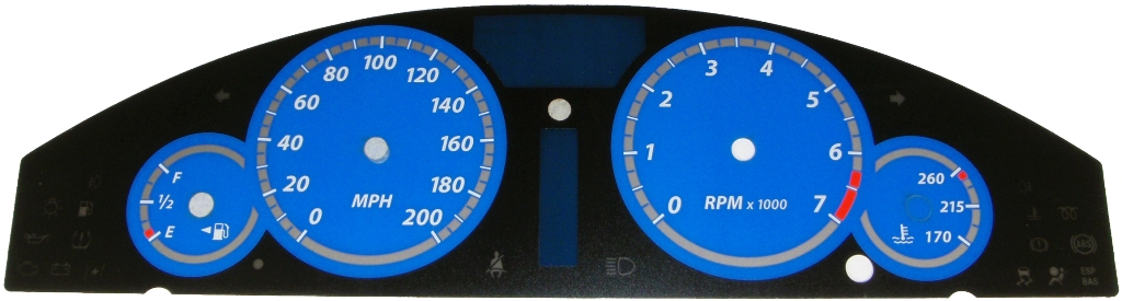 Chrysler 300c 2005-2009 Srt8 Blue / Blue Night Performance Dash Gauges