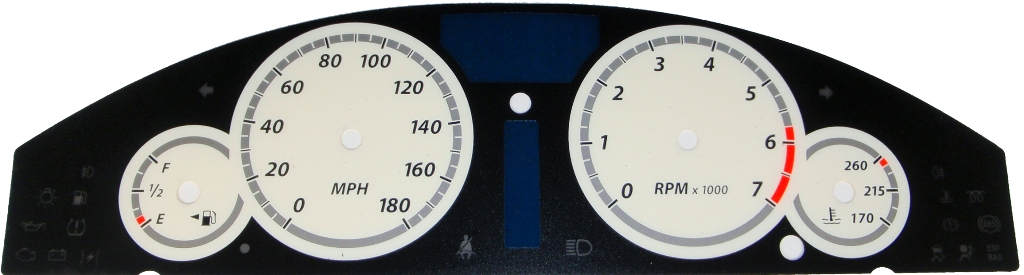 Chrysler 300c 2005-2009  White / White Night Performance Dash Gauges