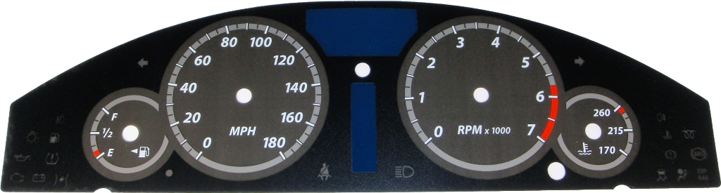 Chrysler 300c 2005-2009  Black / Silver Night Performance Dash Gauges