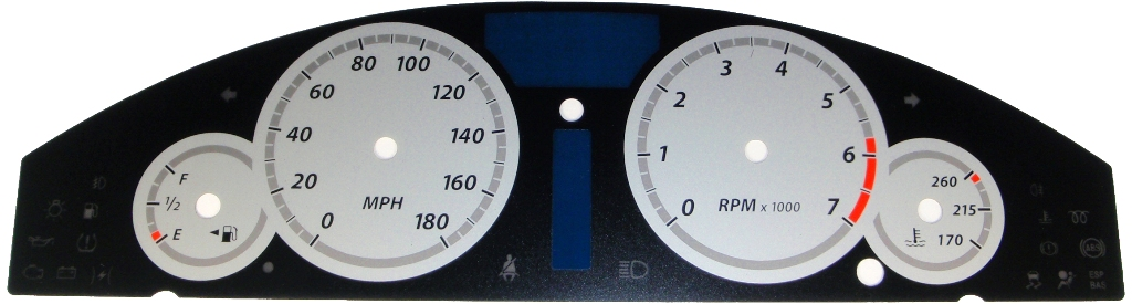 Chrysler 300c 2005-2009  Silver / Silver Night Performance Dash Gauges