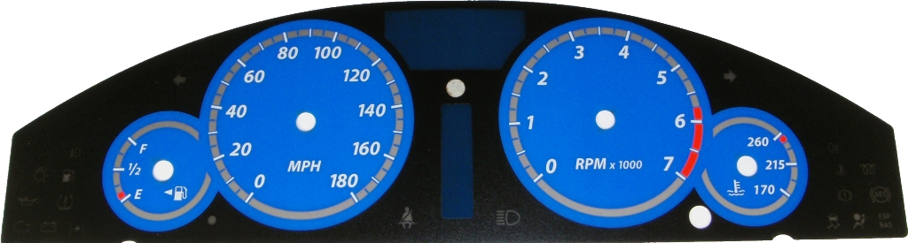Chrysler 300c 2005-2009  Blue / Blue Night Performance Dash Gauges