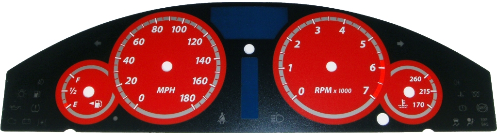 Chrysler 300c 2005-2009  Red / Red Night Performance Dash Gauges
