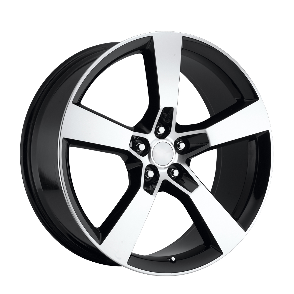 Chevrolet Camaro 2010-2012 20x8 5x4.75 +35 - Replica Wheel -  Black Machine Face With Cap