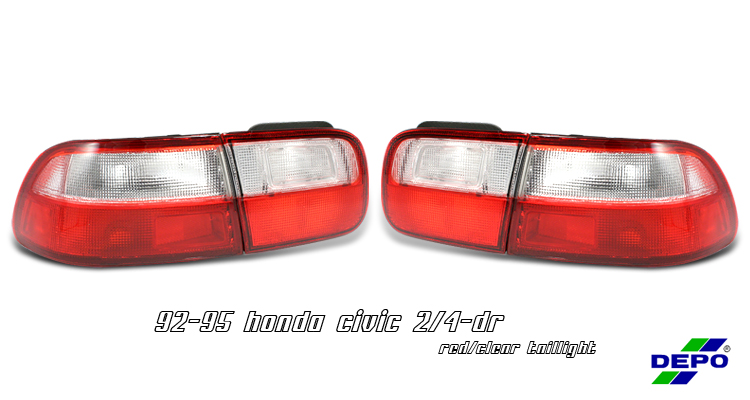 Honda Civic 1992-1995 2/4 Dr Chrome Euro Tail Lights