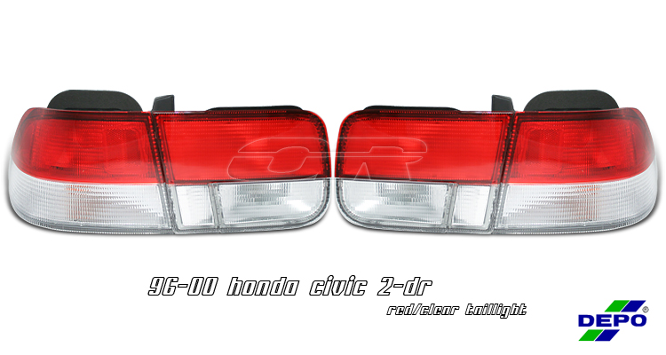 Honda Civic 1996-2000 2dr Chrome Euro Tail Lights