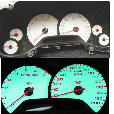 Chevy Corvette 97-02 C5 White Face Gauges