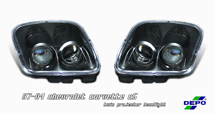 Chevrolet Corvette C5 1997-2004 Lemans C5R Style Black Projector Headlights