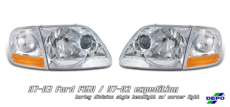 Ford Expedition 1997-2002  Chrome W/ Corner Euro Crystal Headlights