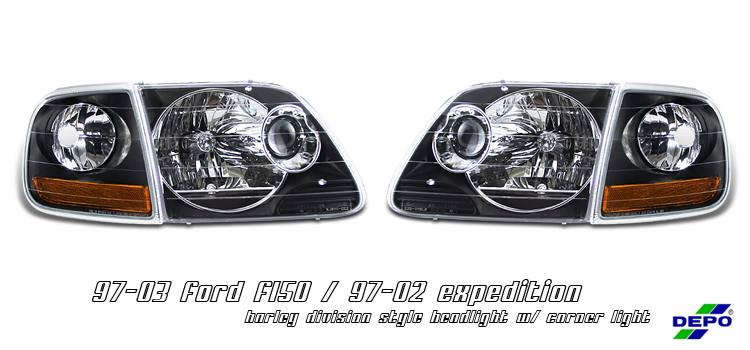Ford Expedition 1997-2002  Black W/ Corner Euro Crystal Headlights