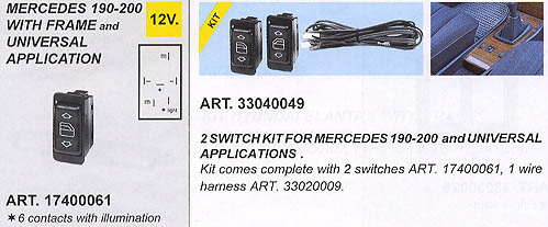2 Switch Kit Illuminated (For Power Window Kits)