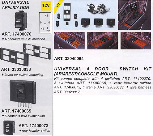 7 Switch Kit Illuminated Console Mount (For Power Window Kits)