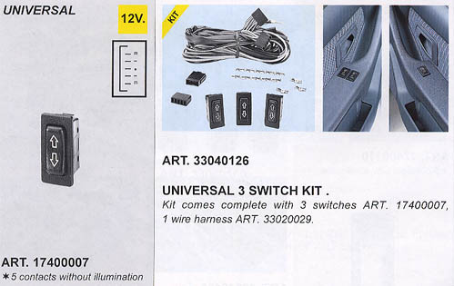 3 Switch Kit (For Power Window Kits)