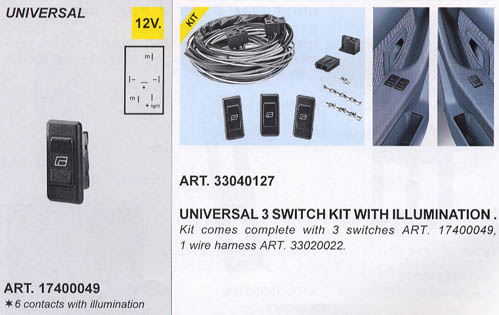 3 Switch Kit Illuminated (For Power Window Kits)