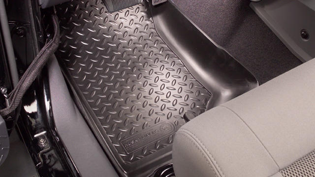 Ford Econoline 1997-2002 E-350 Club Wagon Husky Classic Style Series Front Floor Liners - Black