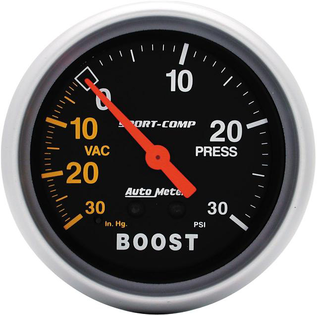 Auto Meter 30 IN/30 PSI 2-5/8 inch Boost Gauge