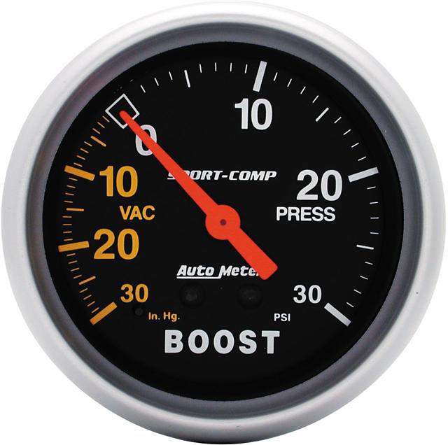 Auto Meter 30 IN/30 PSI 2-5/8 inch Boost Gauge
