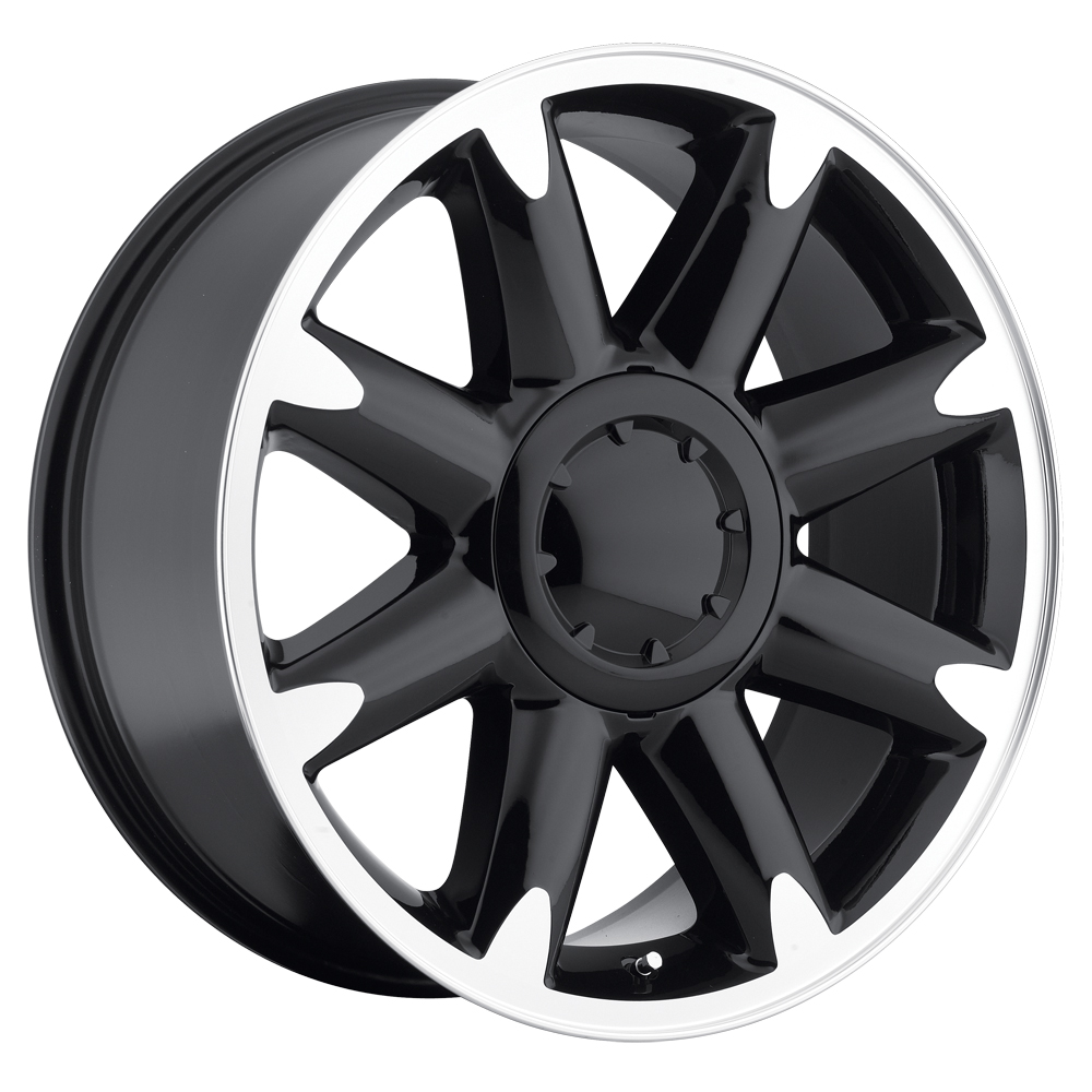 Gmc Yukon 2007-2012 20x8.5 6x5.5 +13 - Denali Wheel - Black Machine Face With Cap