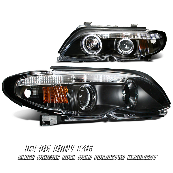 Bmw 3 Series 2002-2004 4dr Black/amber W/halo Projector Headlights