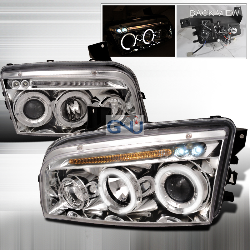 Dodge Charger 2005-2010 CCFL Halo LED  Projector Headlights - Chrome