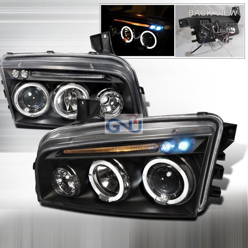 Dodge Charger 2005-2010 CCFL Halo LED  Projector Headlights - Black