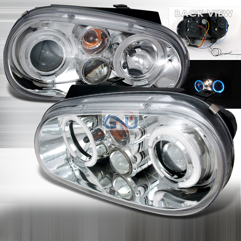Volkswagen Golf 1999-2003 CCFL Halo LED  Projector Headlights - Chrome