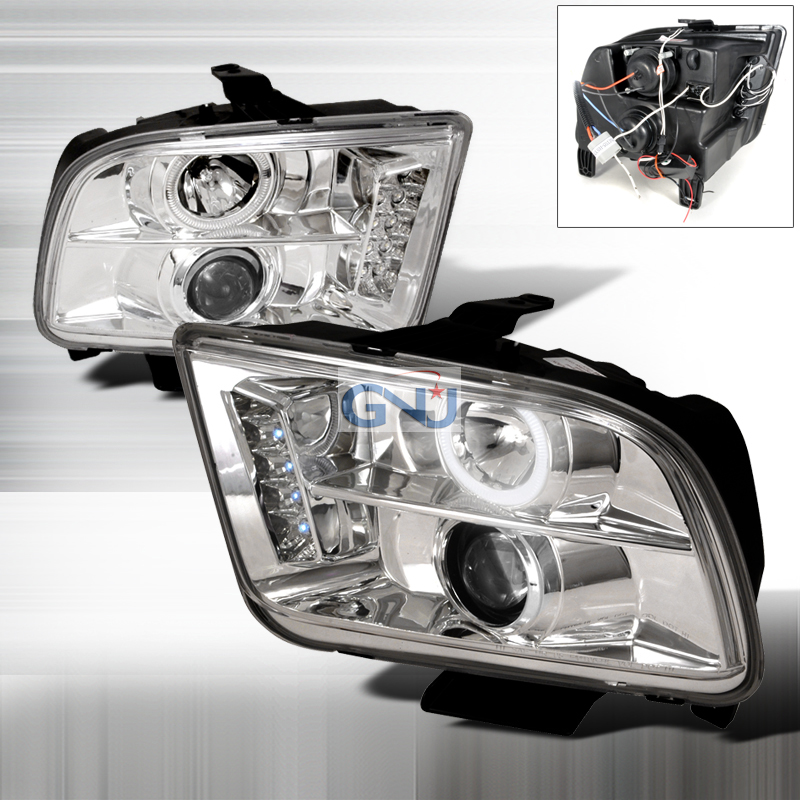 Ford Mustang 2005-2009 CCFL Halo LED  Projector Headlights - Chrome