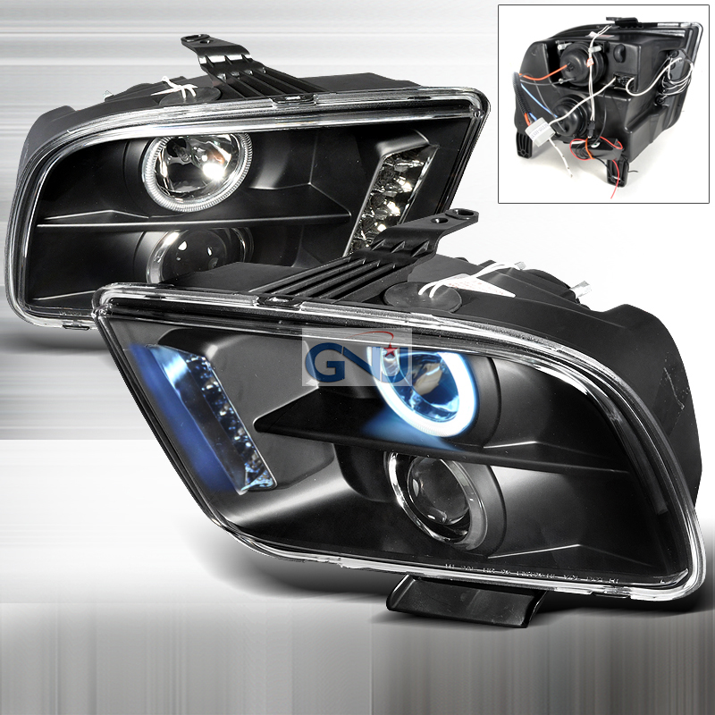 Ford Mustang 2005-2009 CCFL Halo LED  Projector Headlights - Black