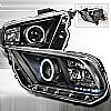 2012 Ford Mustang   Black Ccfl Halo Projector Headlights  