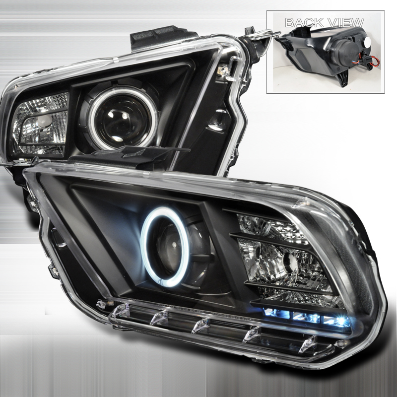 Ford Mustang  2010-2013 Black Ccfl Halo Projector Headlights
