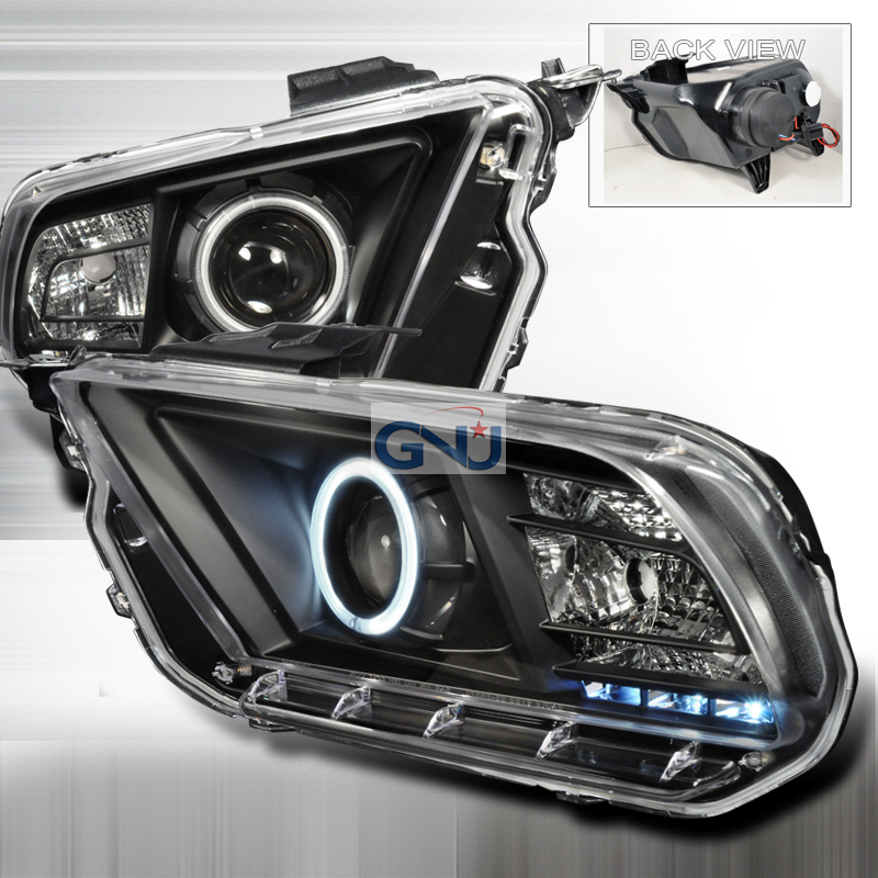 Ford Mustang 2010-2011CCFL Halo  Projector Headlights - Black
