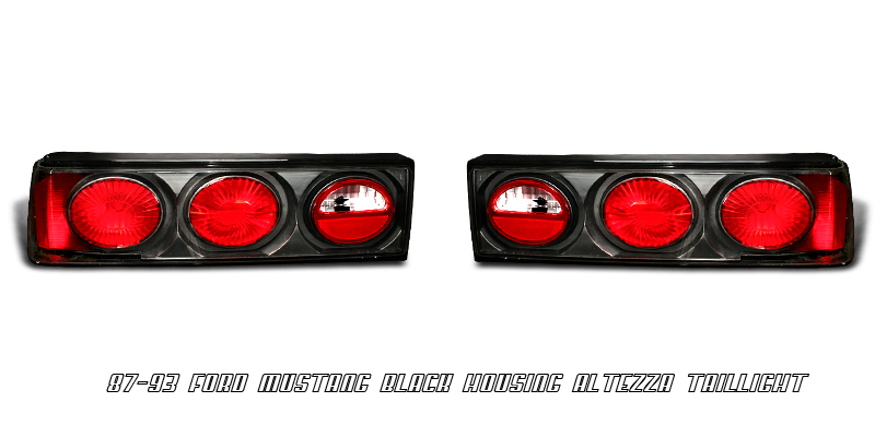 Ford Mustang 1987-1993  Black Euro Tail Lights