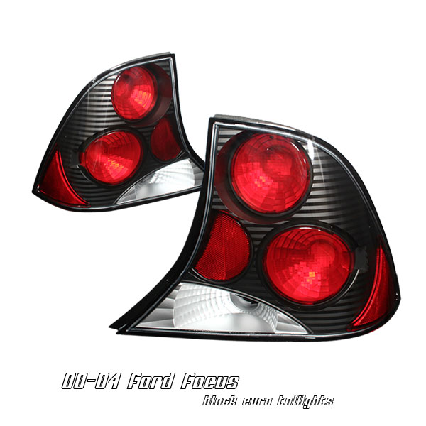 Ford Focus 2000-2004 4dr Black Euro Tail Lights