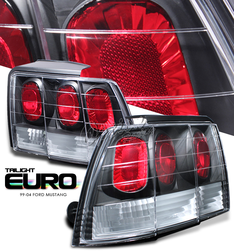 Ford Mustang 1999-2004  Black Euro Tail Lights