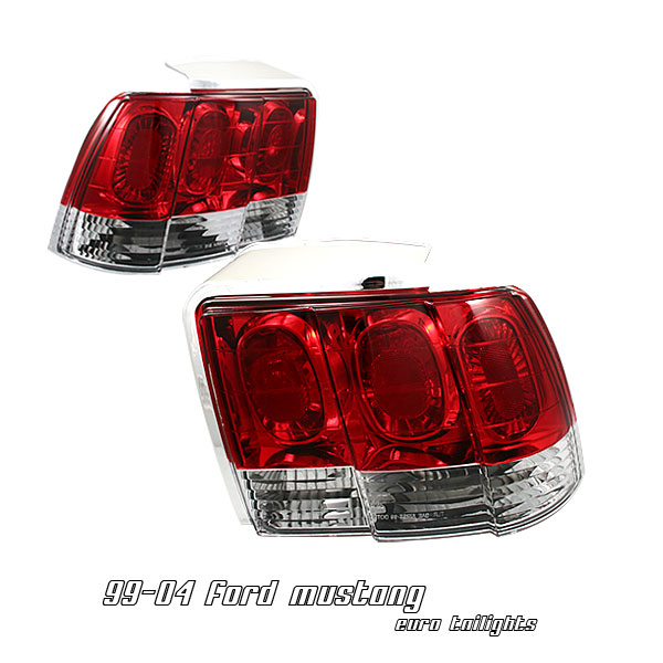 Ford Mustang 1999-2004  Red / Clear Euro Tail Lights