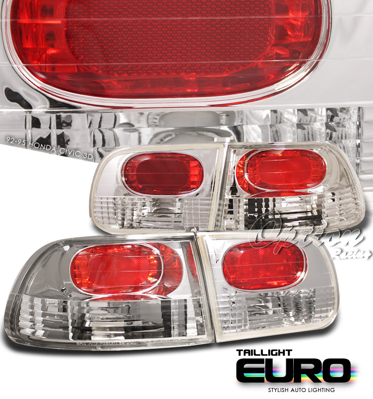 Honda Civic 1992-1995 Hatchback Chrome Euro Tail Lights