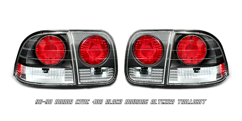 Honda Civic 1996-1998 4dr Black Euro Tail Lights