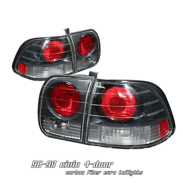 Honda Civic 1996-1998 4dr Carbon Fiber Euro Tail Lights
