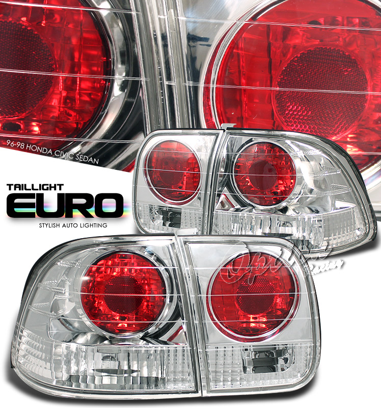 Honda Civic 1996-1998 4dr Chrome Euro Tail Lights