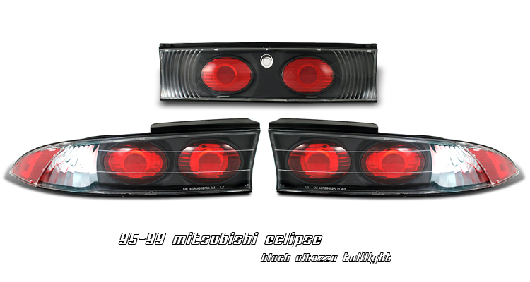 Mitsubishi Eclipse 1995-1999  Black Euro Tail Lights