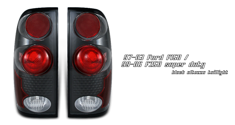Ford F150 1997-2003  Black Euro Tail Lights