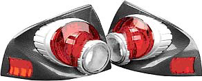 Nissan Sentra 03-Up 3-D Retro Tail Lights Carbon Fiber