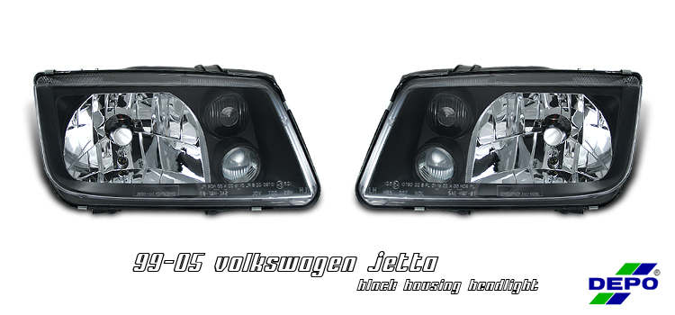 Volkswagen Jetta 1999-2005  Black Euro Crystal Headlights