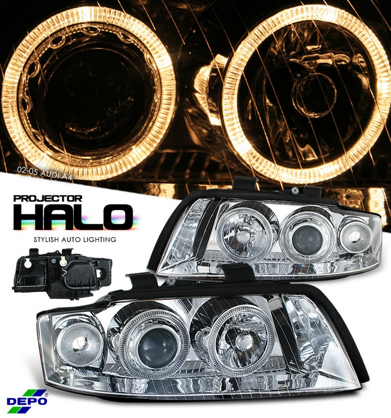 Audi A4  2002-2005 Halo Projector Headlights - Chrome Housing Clear Lens