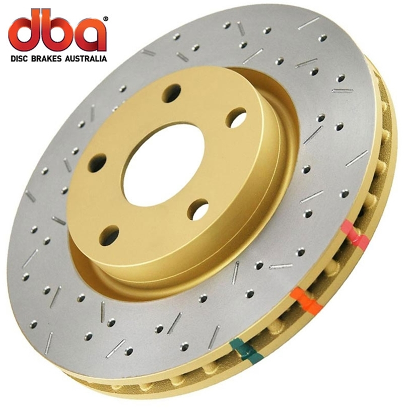 Subaru WRX WRX STI (5x100 & 5 X 114.3 Bolt Circle) - Inc. Jdm 2005-2006 Dba 4000 Series Cross Drilled And Slotted - Front Brake Rotor