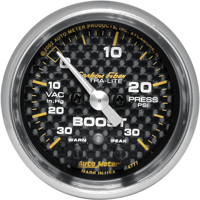 Auto Meter Carbon Fiber 30 IN/30 PSI 2-1/16 inch Boost Gauge