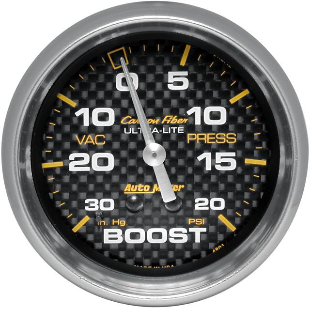 Auto Meter Carbon Fiber 2-5/8 inch Boost Gauge
