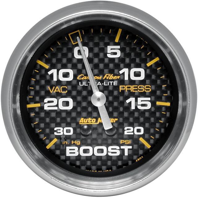 Auto Meter Carbon Fiber 2-5/8 inch Boost Gauge
