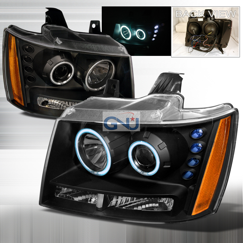 Chevrolet Avalanche 2007-2011CCFL Halo  Projector Headlights - Black